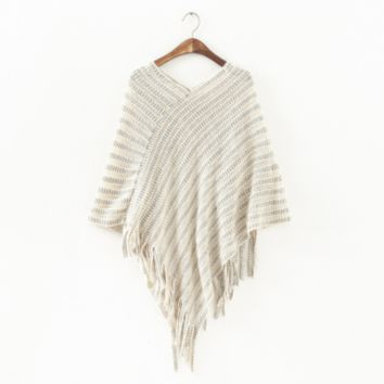 Bohemian Knitted Poncho