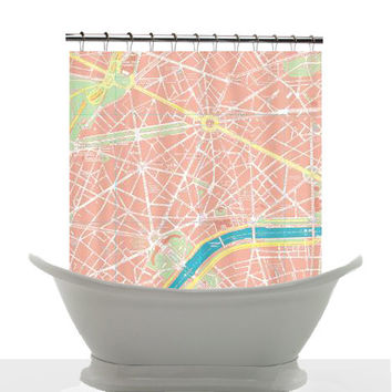 Shower Curtain - Paris, France Street Map - Home Decor - Peach, Mint, pink, green, Bathroom - maps