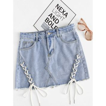 Lace Up Raw Hem Denim Skirt