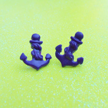 Navy Blue Anchor Stud Earrings - Anchors Away Nautical Post Earrings - Custom Colors Available - Summer Must Have - Trendy