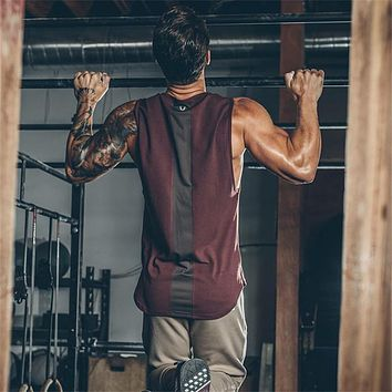 Men's Curved Patchwork Gyms Stringers Vest Bodybuilding Clothing Fitness Man Tanks Tops