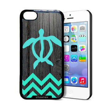 Shawnex Teal Hawaiian Turtle Honu On Dark Wood iPhone 5C Case - Thin Shell Plastic Protective Case iPhone 5C Case
