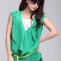 Fashion V Collar Chiffon Sleeveless Shirt - Black, Green, White or Apricot from Tobi's Finds