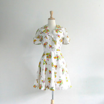 1970s Dress / 70s mini dress / cotton sundress / spring summer dress / white day dress / garden party dress / small