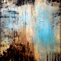 """Large Wall Art Metal Print of  Original Abstract Landscape Painting BLUE by Holly Anderson  36"""""""