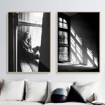 Wall Art Print Black White Window Shadow Girl Vintage Photo Nordic Posters And Prints Wall Pictures For Living Room Kids Decor