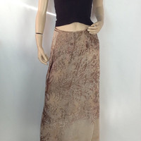 Vintage Burnout Skirt Long Velvet Skirt Maxi Wrap Skirt Steve Style Anne Klein 8 made in  Hong