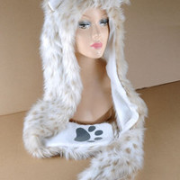 Faux ANIMAL HOOD Winter Ski  HAT Polar Leopard WITH Paws Mittens Gloves Snow