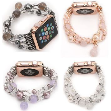 Women's Agate Stretch Bracelet for Apple Watch Band for iWatch 42mm 38mm 1st 2nd Wrist Strap Watch Band Belt