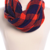 Plaid Infinity Scarf, Orange-Navy