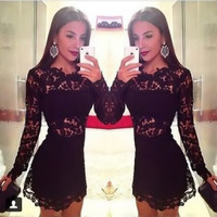 Sexy Stitching Lace Gauze Bodycon Crochet Mini Dress