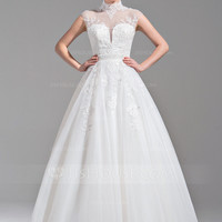 [£ 227.00] Ball-Gown High Neck Floor-Length Tulle Wedding Dress With Beading Appliques Lace Sequins (002075648)