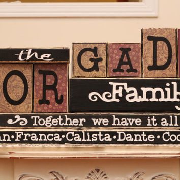 Family Name Wood Blocks - 7 Letters Last Name