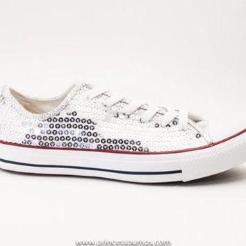 CREYONB Silver Sequin Canvas Converse All Star Low Top Sneakers 3cb62b01f