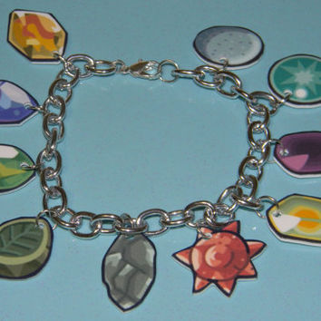 Pokemon Evolution Stones Charm Bracelet by thekidicarus on Etsy