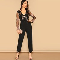 Black Contrast Mesh Sleeve Sequin Detail Wrap Front Jumpsuit Women Highstreet Club Solid Bodycon Jumpsuits