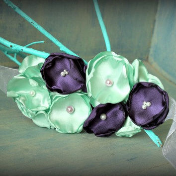 Mint Green and Purple Flower Sash for Weddings, Maternity Sash, Pregnancy Photo Prop or Flower Girl