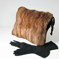 Mink Muff, Vintage Fur Muffler, Black Satin Clutch, Fur Purse
