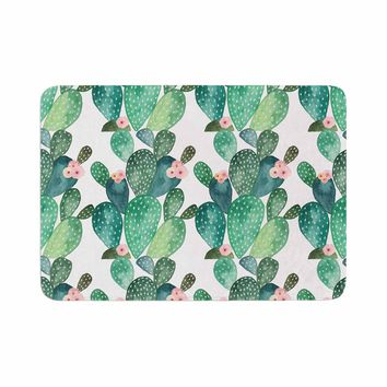 "Li Zamperini ""Cactus"" Green Teal Watercolor Memory Foam Bath Mat"