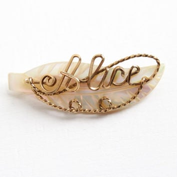 Sale - Vintage Alice Name Brooch Pin - Rosy Yellow Gold Filled 1940s Wire Wrapped Mother of Pearl Leaf Motif Cursive Signature Jewelry