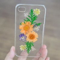 Handmade Double Orange Flowers Real Pressed Flowers Phone Case For iPhone 4/4S 0709008