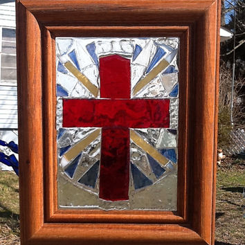 "Stained Glass Mosaic Cross Window Art / Sun Catcher 9"" x 8"" OOAK Handmade"