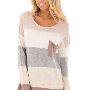 Mauve and Cream Striped Sweater with Breast Pocket