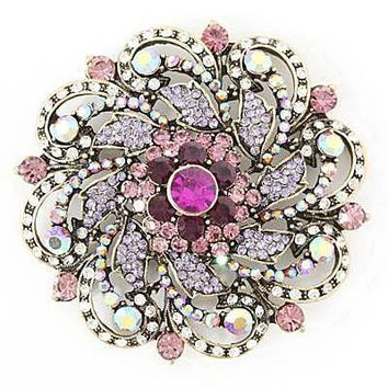 *Round Rhinestone & Gems Brooch- Purple