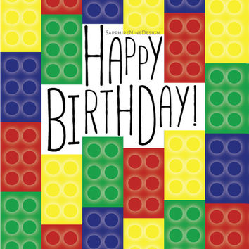 Lego Birthday Card - Lego Theme Party - Printable Card - Digital Download - Graphic Design