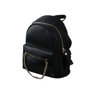 Black Faux Leather Chain Accent Zipper Closure Backpack
