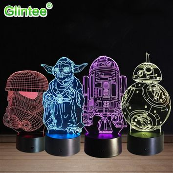 Star Wars Force Episode 1 2 3 4 5  Yoda 3D LED Acrylic Night Light Darth Vader Stormtrooper R2-D2 Robot Master Lamps Cartoon Luminous Baby Touch Lighting AT_72_6