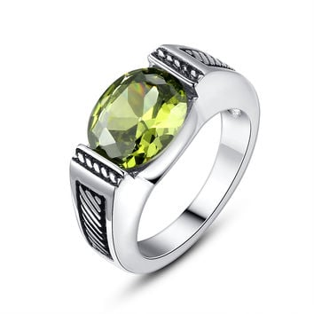 Stainless Steel Vintage Oval Green Cubic Zirconia Ring