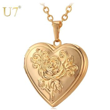 U7 Heart Locket Necklace Pendant Metal Brass