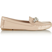 Miu Miu - Embellished patent-leather driving shoes