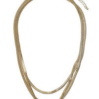 Flat Snake Chain Multi Row Necklace - Gold