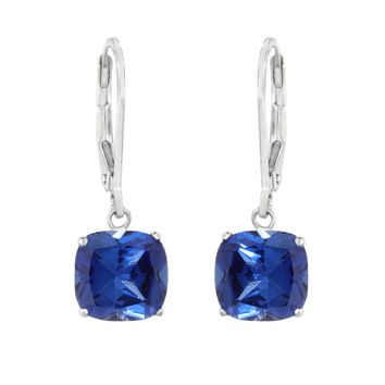 8MM Cushion Sapphire Sterling Silver Leverback Earrings