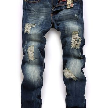 Ripped Holes Men Slim Blue Pants Jeans [6544719107]