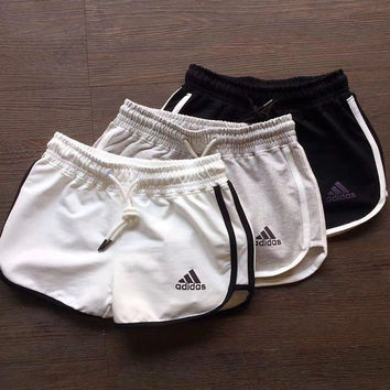Adidas Woman Fashion Drawstring Sports Leisure Running Shorts