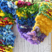 Hand Knit Scarf, name Crayon, in bright Multi Colors in  Handspun Hand Dyed Super Soft Bulky Yarn with pink and purple