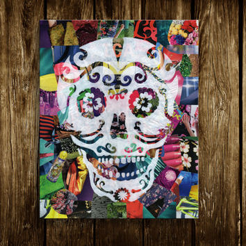 Day of the dead - Sugar skull -Bohemian decor- Mixed media collage art - Dia de los muertos - Sugar skull - Macabre art - Halloween decor
