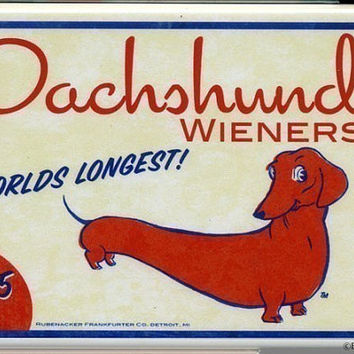 Dachshund hotdog wiener label magnet dog art