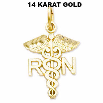 "RN-Registered Nurse 14 K Real Gold Necklaces "" Show Your Nurse Pride """