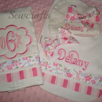 Delany Personalized Hat Burp Cloth and Bib - Choice of Name and/or up to 3 monograms