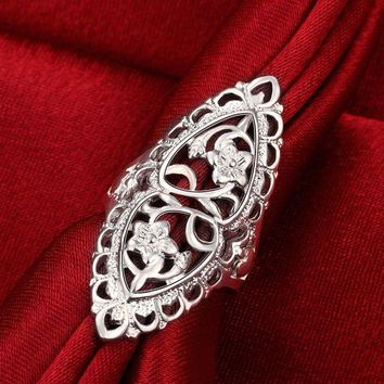 Vintage Flower 925 Silver Plated Women Wedding Ring Thumb Ring