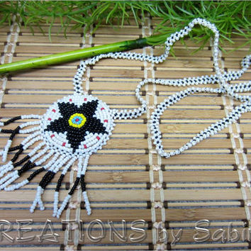 Native American Medallion Beaded Necklace, Star, Flower, Beads, Indian, Fringes, Vintage FREE SHIPPING