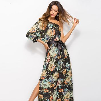 New Bohemia summer beach dress 2018 dew shoulder single sleeve vestidos flowers printed long dresses women maxi dress 41001