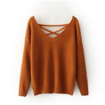 Deep V Loose Sweater