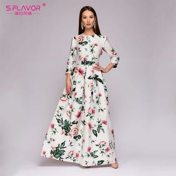 S.FLAVOR Bohemian style long dress Winter women printing party dress Elegant O-neck simple vestidos de festa