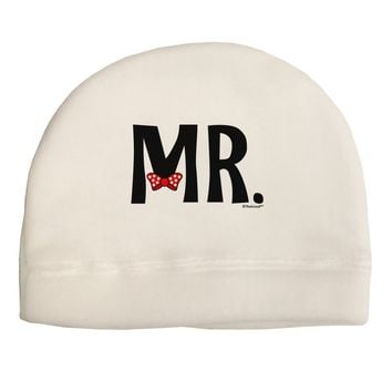 Matching Mr and Mrs Design - Mr Bow Tie Adult Fleece Beanie Cap Hat by TooLoud