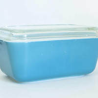 Vintage Primary Blue Pyrex Primary Refrigerator Dish, Turquoise Medium Pyrex Storage Container 502 with Lid, USA